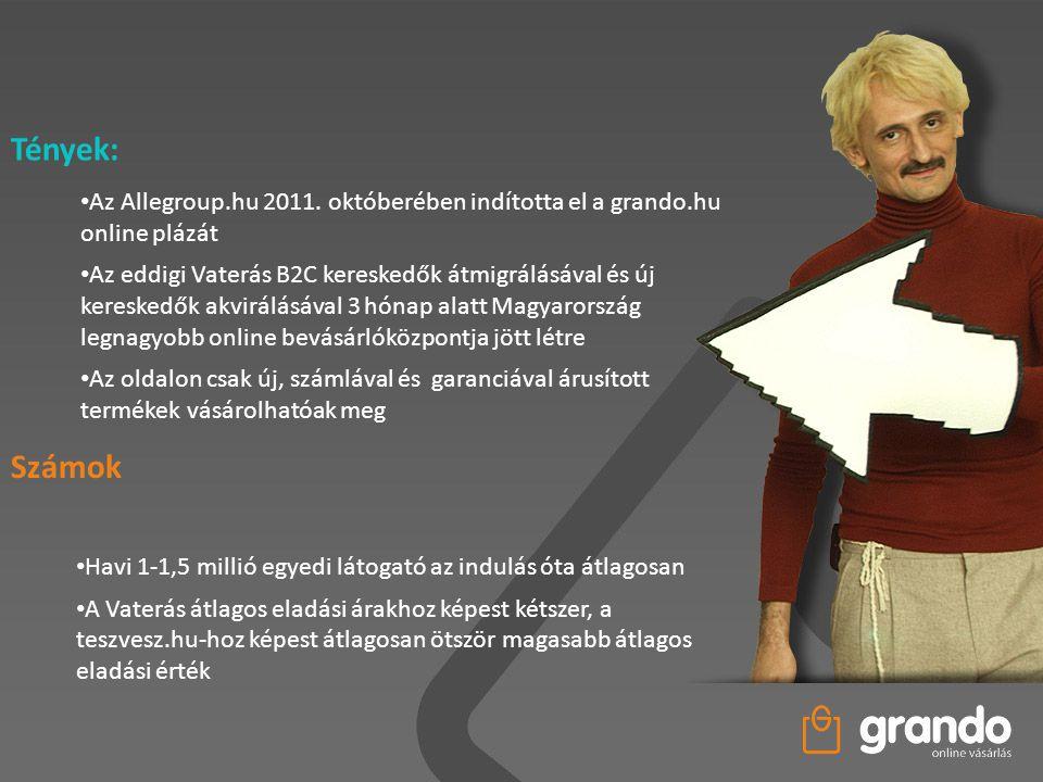 Tények: Az Allegroup.hu 2011. októberében indította el a grando.hu online plázát.