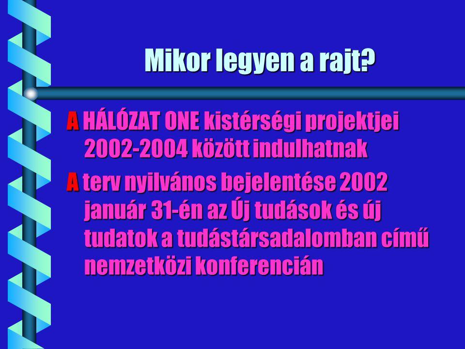 Mikor legyen a rajt A HÁLÓZAT ONE kistérségi projektjei 2002-2004 között indulhatnak.