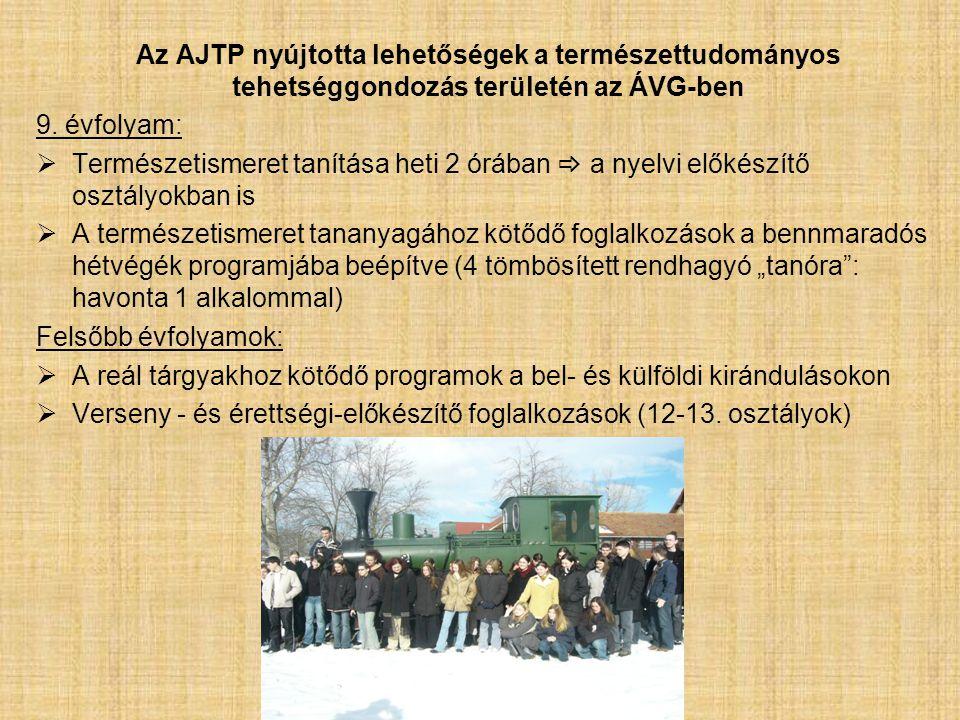 Az AJTP nyújtotta lehetőségek a természettudományos tehetséggondozás területén az ÁVG-ben