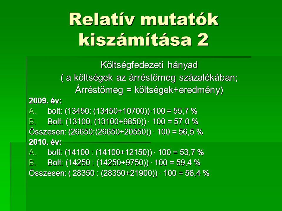 Relatív mutatók kiszámítása 2