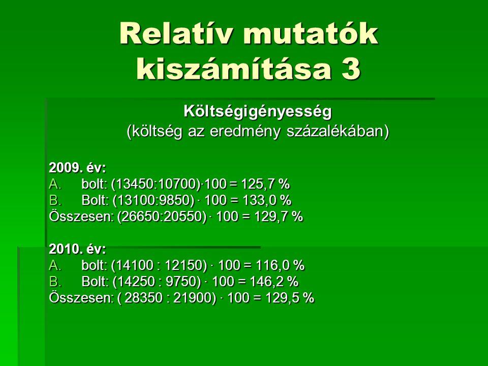 Relatív mutatók kiszámítása 3