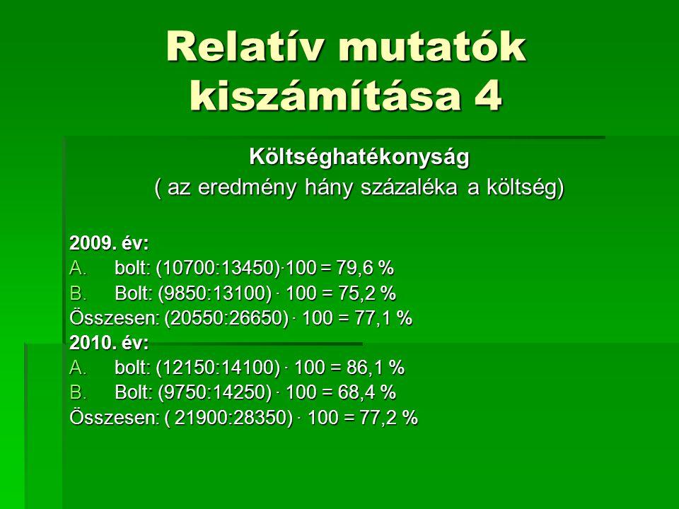 Relatív mutatók kiszámítása 4