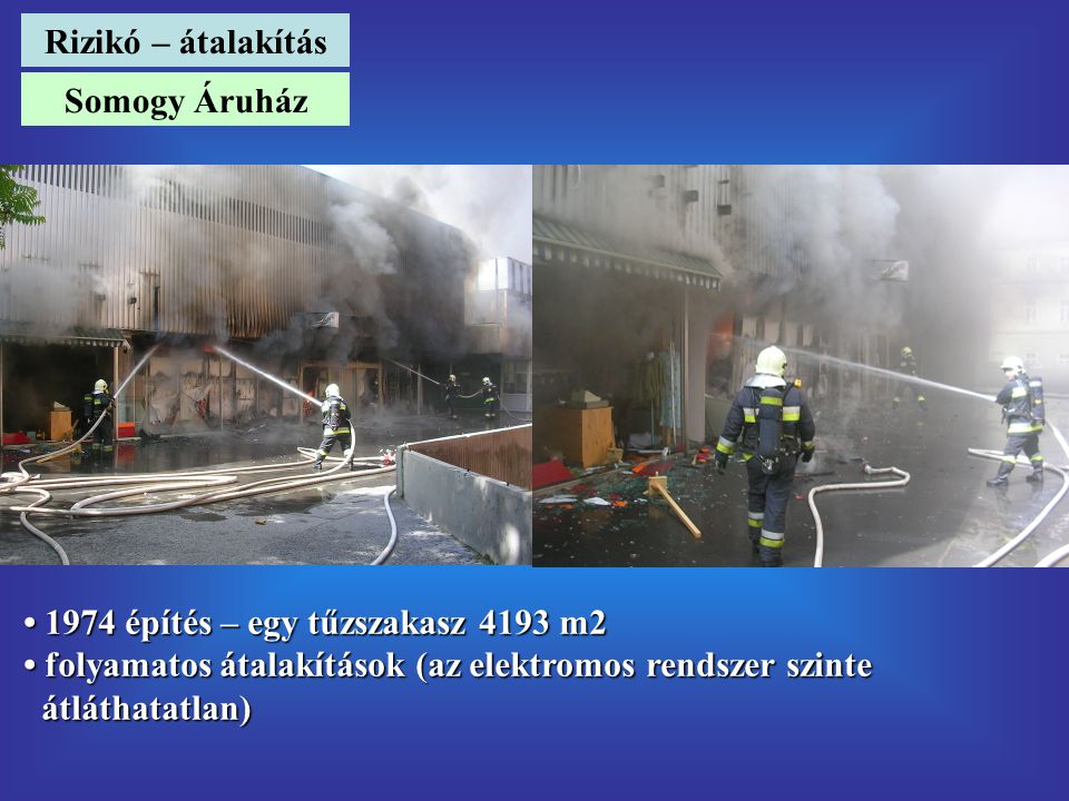 Rizikó – átalakítás Somogy Áruház. • 1974 építés – egy tűzszakasz 4193 m2. • folyamatos átalakítások (az elektromos rendszer szinte.