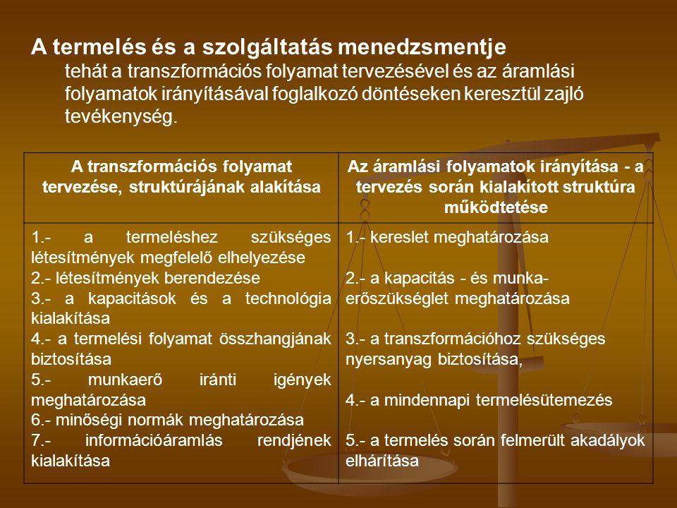 A transzformációs folyamat tervezése, struktúrájának alakítása