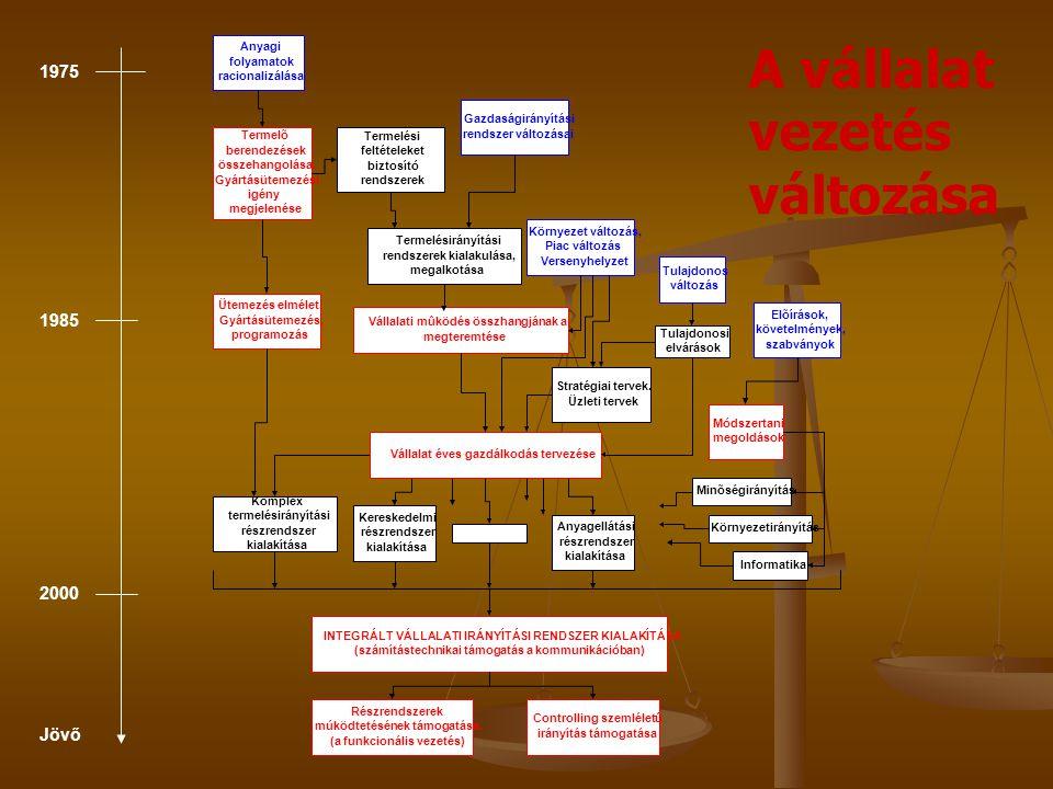 A vállalat vezetés változása 1975 1985 2000 Jövő Anyagi folyamatok