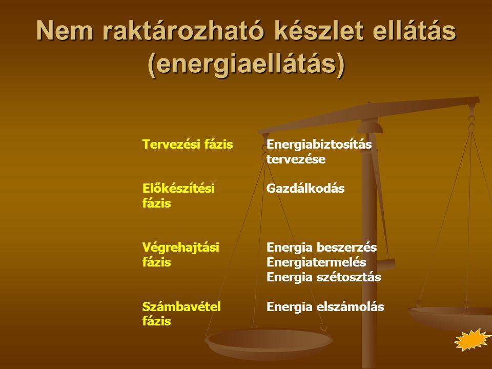 Nem raktározható készlet ellátás (energiaellátás)
