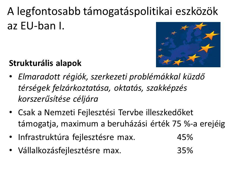 A legfontosabb támogatáspolitikai eszközök az EU-ban I.