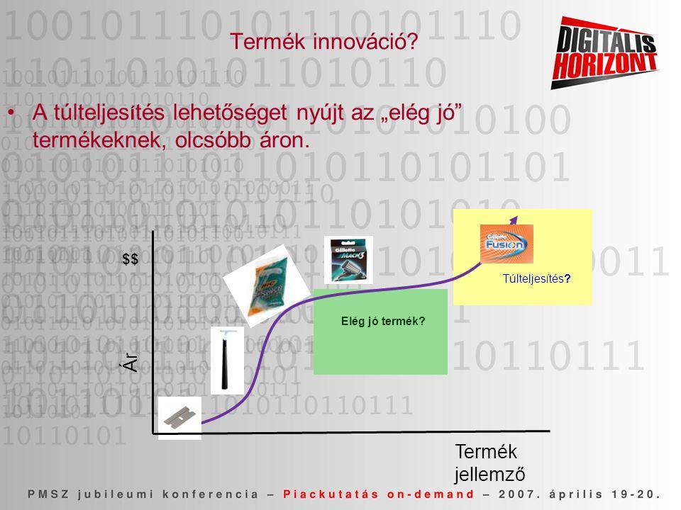 """Termék innováció A túlteljesítés lehetőséget nyújt az """"elég jó termékeknek, olcsóbb áron. $$ Túlteljesítés"""