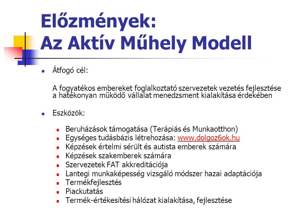 Előzmények: Az Aktív Műhely Modell