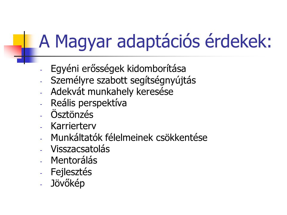 A Magyar adaptációs érdekek: