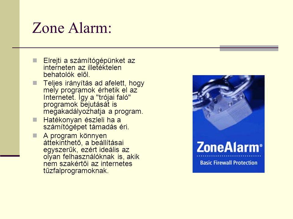 Zone Alarm: Elrejti a számítógépünket az interneten az illetéktelen behatolók elől.