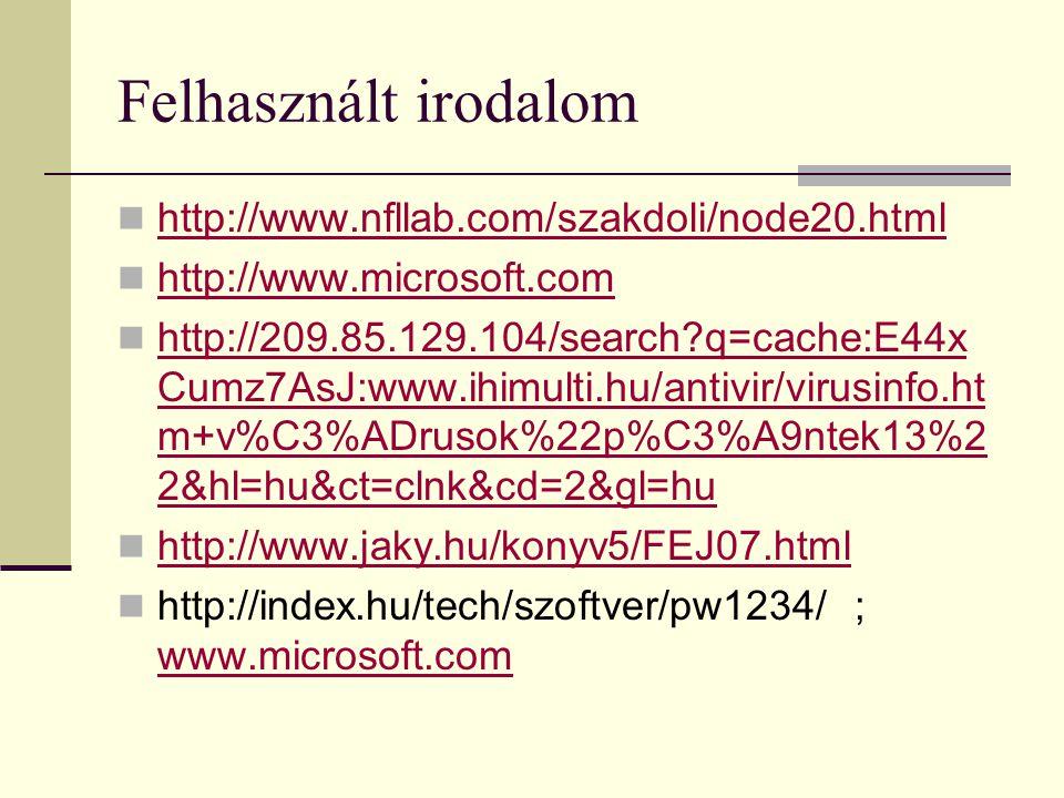 Felhasznált irodalom http://www.nfllab.com/szakdoli/node20.html