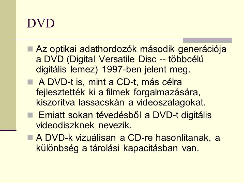 DVD Az optikai adathordozók második generációja a DVD (Digital Versatile Disc -- többcélú digitális lemez) 1997-ben jelent meg.