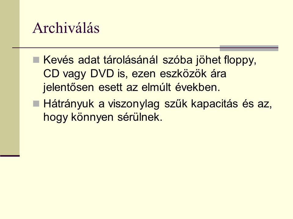 Archiválás Kevés adat tárolásánál szóba jöhet floppy, CD vagy DVD is, ezen eszközök ára jelentősen esett az elmúlt években.