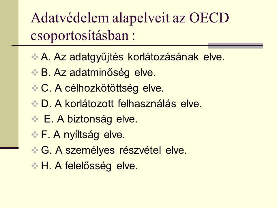 Adatvédelem alapelveit az OECD csoportosításban :