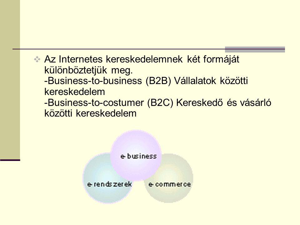 Az Internetes kereskedelemnek két formáját különböztetjük meg