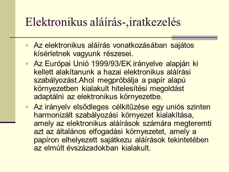 Elektronikus aláírás-,iratkezelés