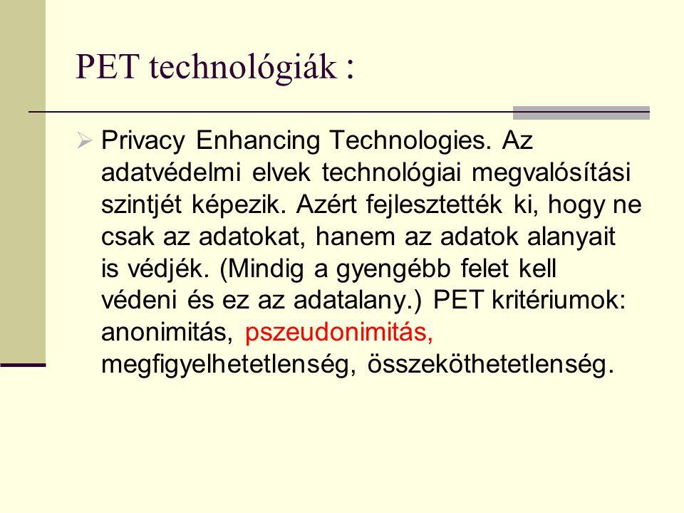 PET technológiák :