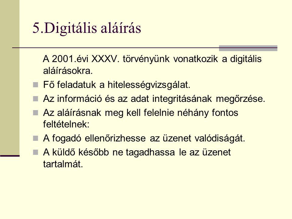 5.Digitális aláírás A 2001.évi XXXV. törvényünk vonatkozik a digitális aláírásokra. Fő feladatuk a hitelességvizsgálat.