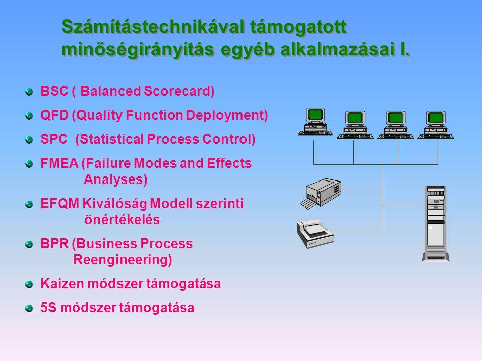 Számítástechnikával támogatott minőségirányítás egyéb alkalmazásai I.