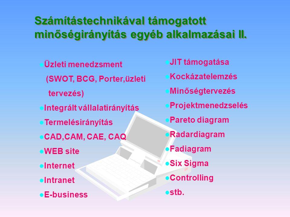 Számítástechnikával támogatott minőségirányítás egyéb alkalmazásai II.