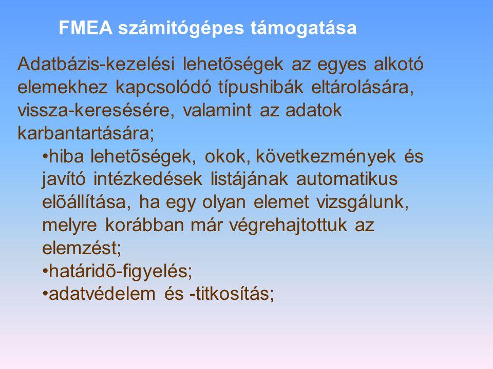 FMEA számitógépes támogatása