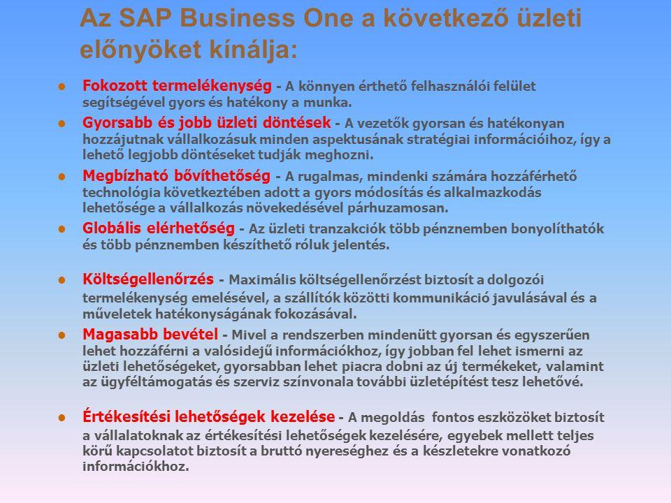 Az SAP Business One a következő üzleti előnyöket kínálja: