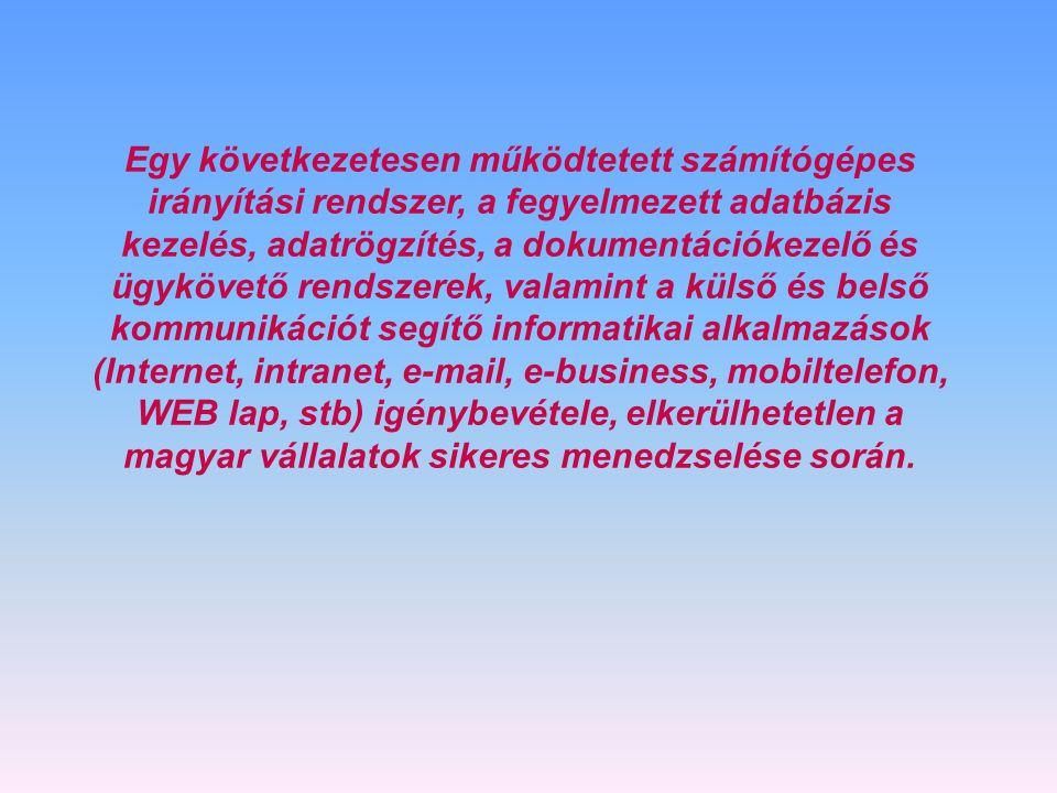 Egy következetesen működtetett számítógépes irányítási rendszer, a fegyelmezett adatbázis kezelés, adatrögzítés, a dokumentációkezelő és ügykövető rendszerek, valamint a külső és belső kommunikációt segítő informatikai alkalmazások (Internet, intranet, e-mail, e-business, mobiltelefon, WEB lap, stb) igénybevétele, elkerülhetetlen a magyar vállalatok sikeres menedzselése során.
