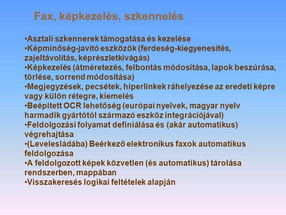 Fax, képkezelés, szkennelés
