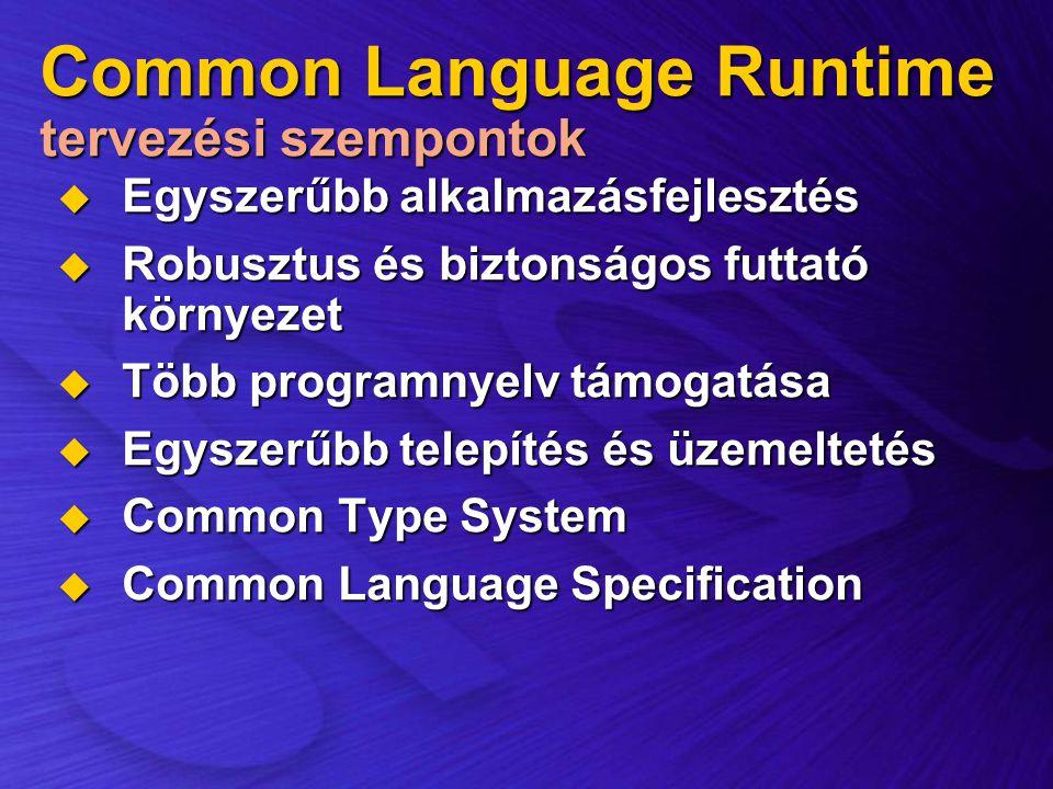 Common Language Runtime tervezési szempontok