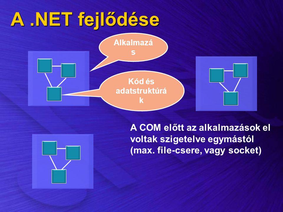 A .NET fejlődése Alkalmazás. Kód és adatstruktúrák.
