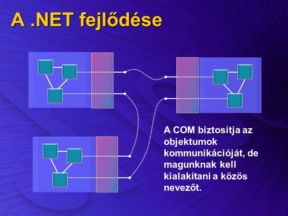 A .NET fejlődése A COM biztosítja az objektumok kommunikációját, de magunknak kell kialakítani a közös nevezőt.
