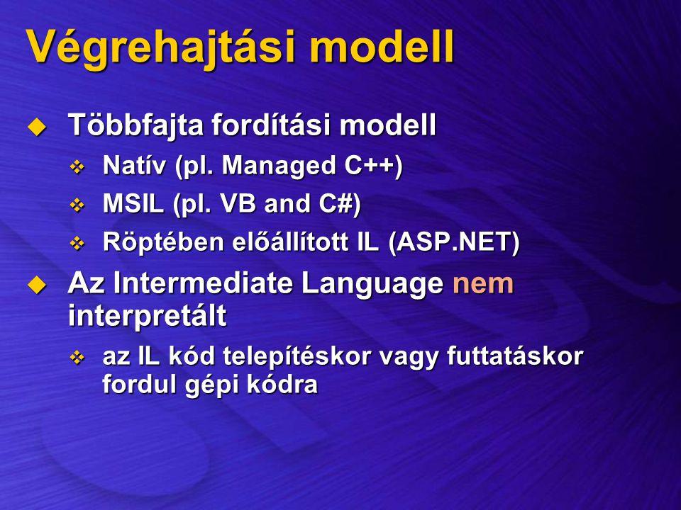Végrehajtási modell Többfajta fordítási modell