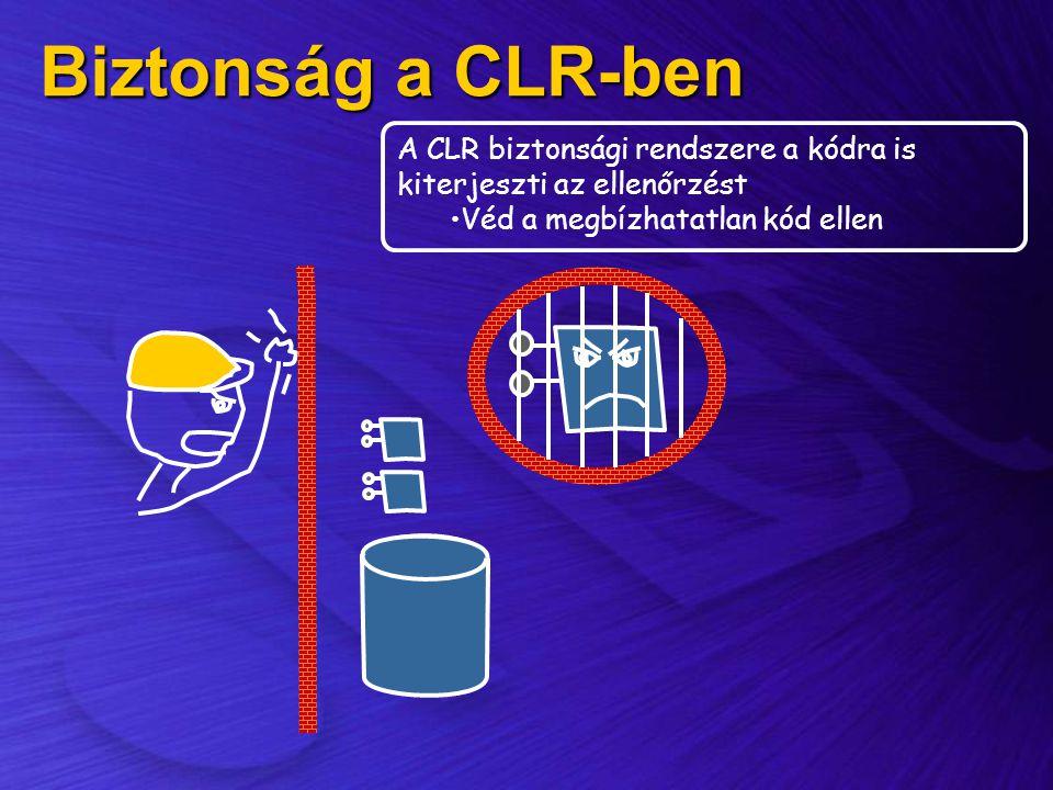 Biztonság a CLR-ben A CLR biztonsági rendszere a kódra is kiterjeszti az ellenőrzést.