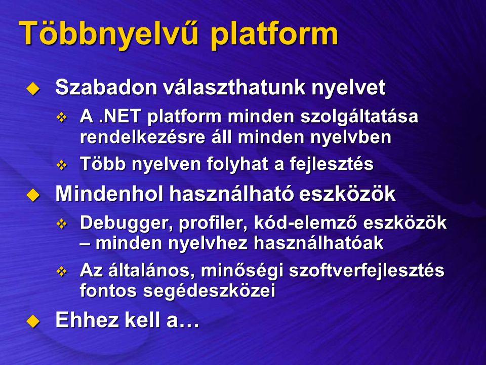 Többnyelvű platform Szabadon választhatunk nyelvet