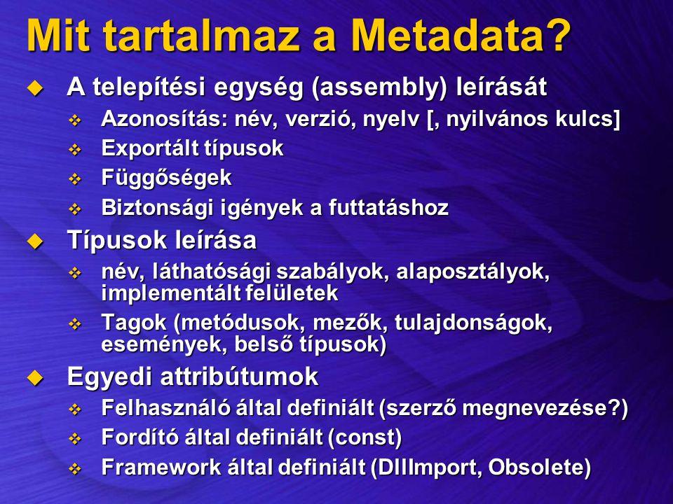 Mit tartalmaz a Metadata