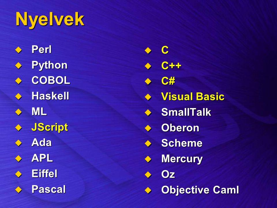 Nyelvek Perl C Python C++ COBOL C# Haskell Visual Basic ML SmallTalk