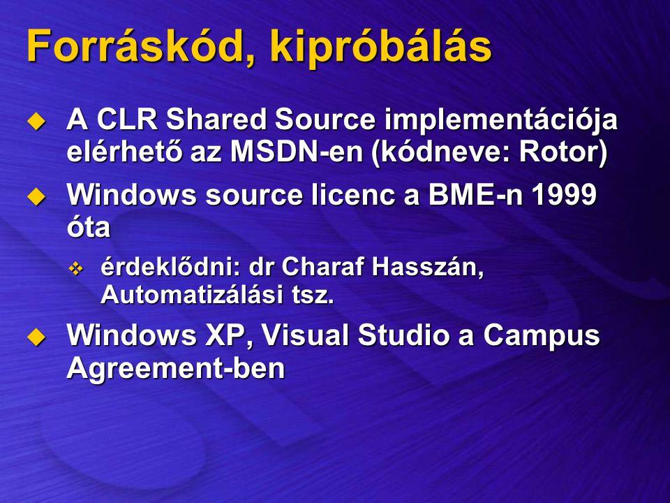 Forráskód, kipróbálás A CLR Shared Source implementációja elérhető az MSDN-en (kódneve: Rotor) Windows source licenc a BME-n 1999 óta.
