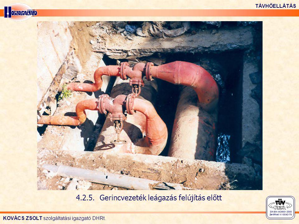 4.2.5. Gerincvezeték leágazás felújítás előtt
