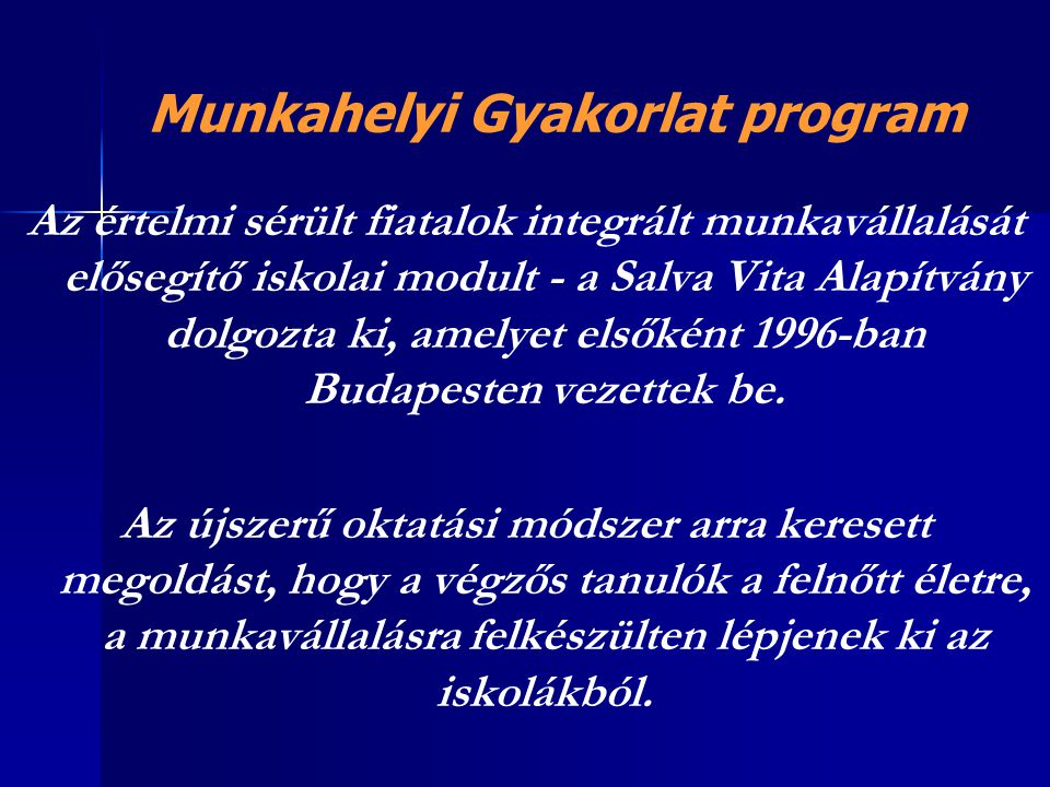 Munkahelyi Gyakorlat program