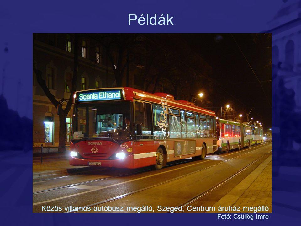 Példák Közös villamos-autóbusz megálló, Szeged, Centrum áruház megálló
