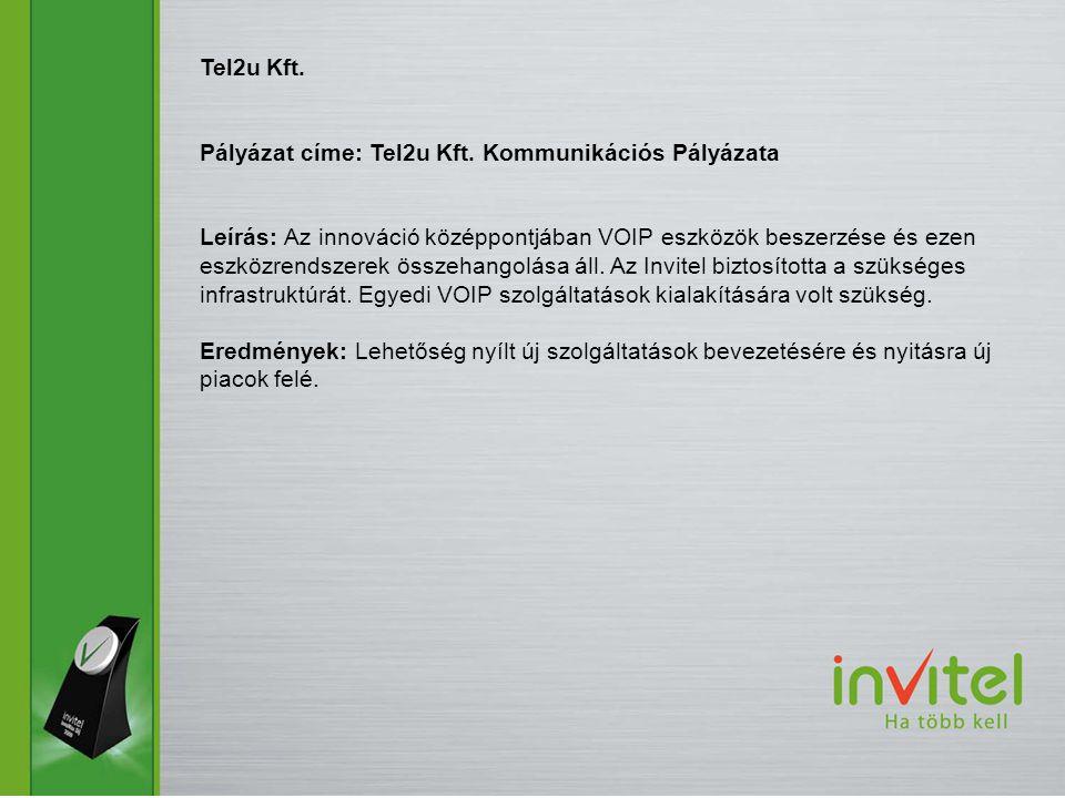 Tel2u Kft. Pályázat címe: Tel2u Kft. Kommunikációs Pályázata.