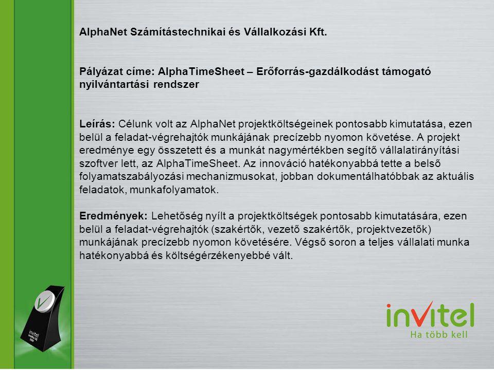 AlphaNet Számítástechnikai és Vállalkozási Kft