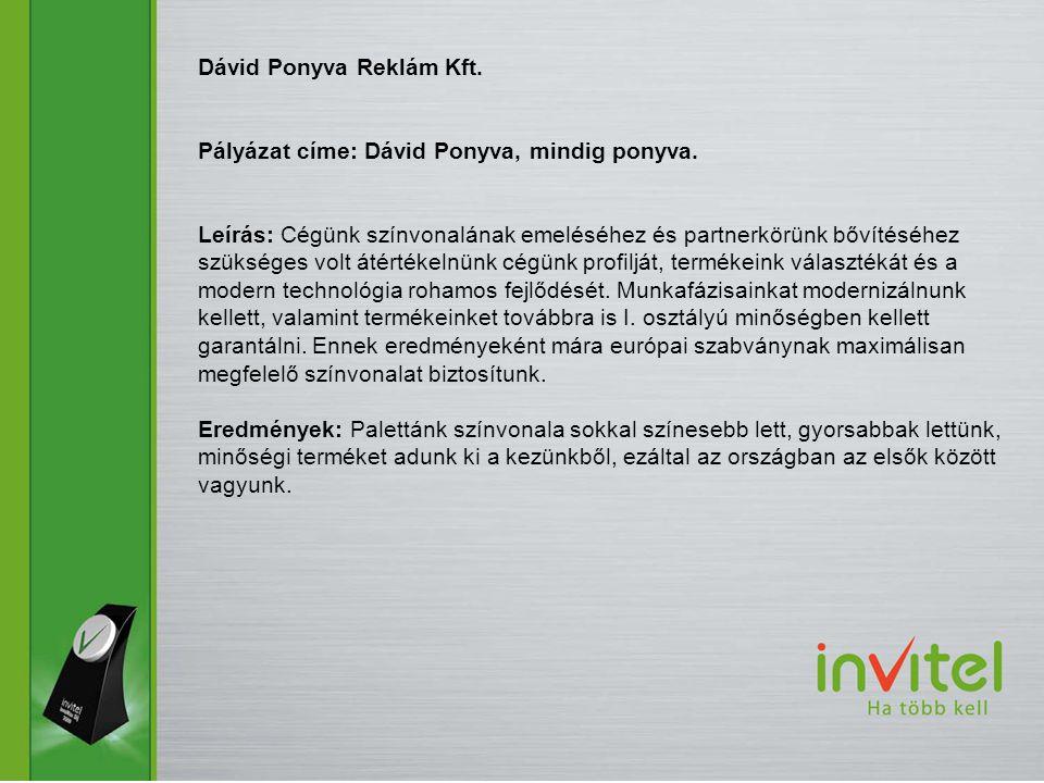 Dávid Ponyva Reklám Kft. Pályázat címe: Dávid Ponyva, mindig ponyva