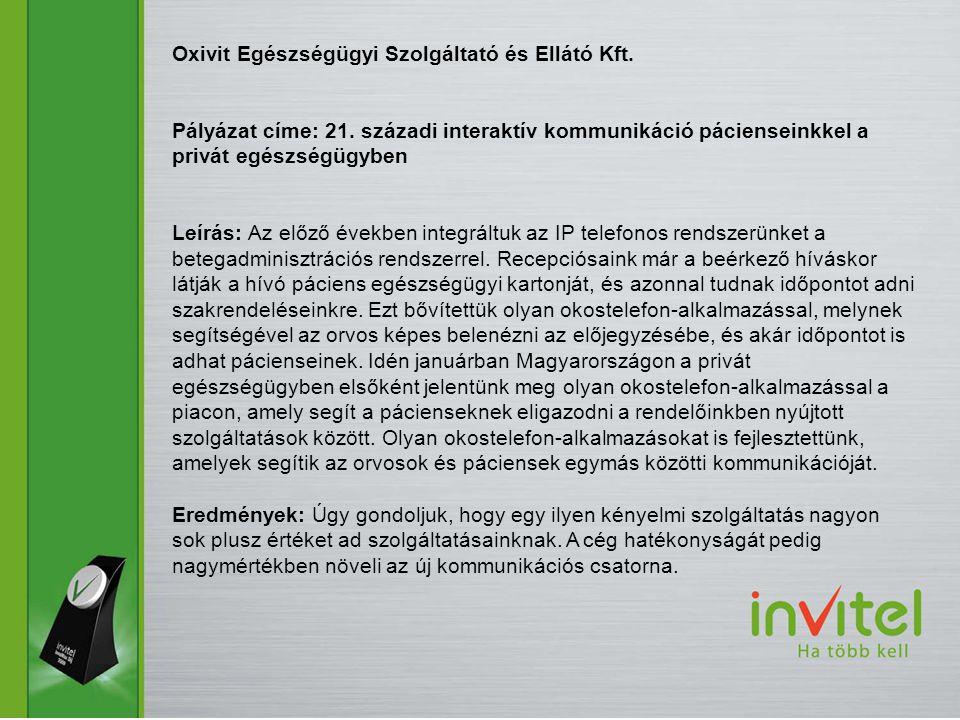 Oxivit Egészségügyi Szolgáltató és Ellátó Kft.