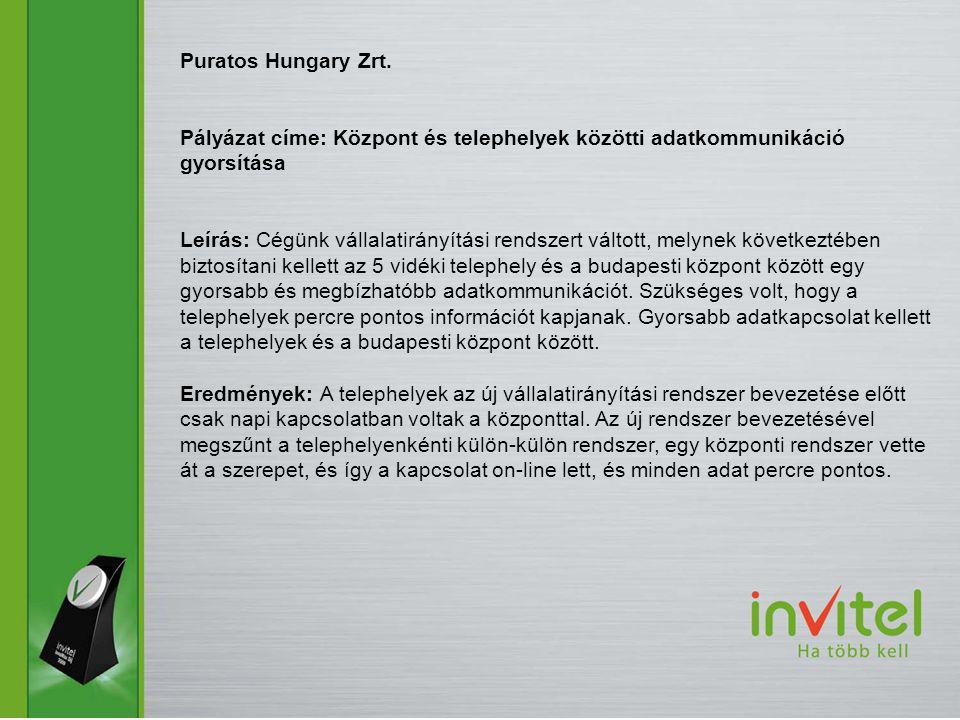 Puratos Hungary Zrt. Pályázat címe: Központ és telephelyek közötti adatkommunikáció gyorsítása.