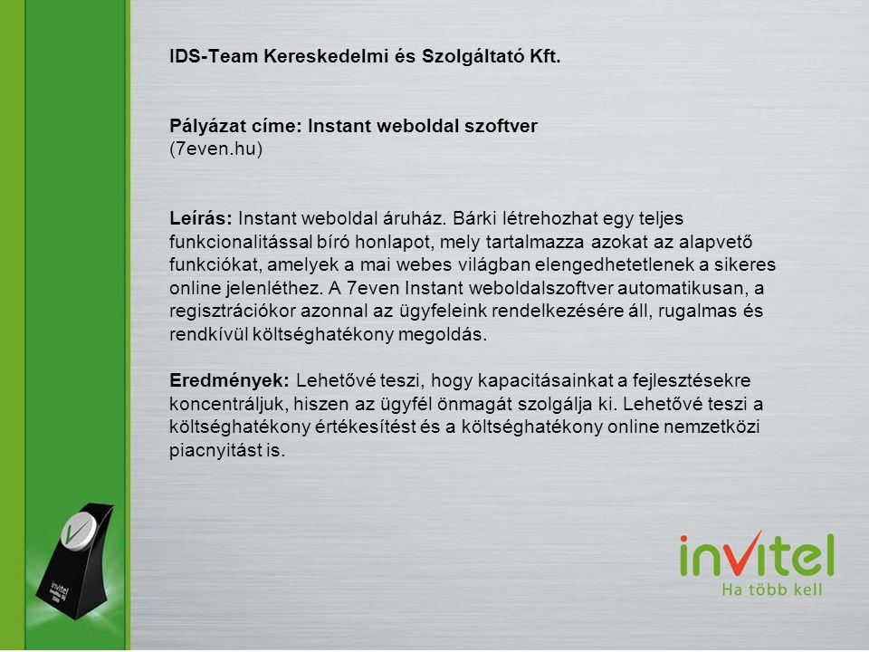 IDS-Team Kereskedelmi és Szolgáltató Kft