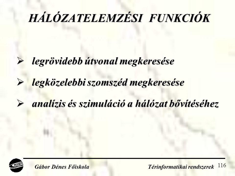 HÁLÓZATELEMZÉSI FUNKCIÓK