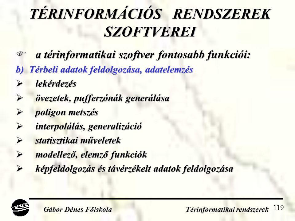 TÉRINFORMÁCIÓS RENDSZEREK SZOFTVEREI