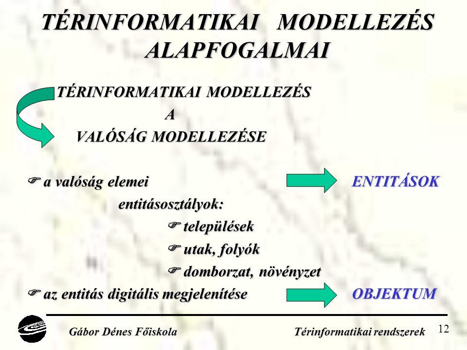 TÉRINFORMATIKAI MODELLEZÉS ALAPFOGALMAI
